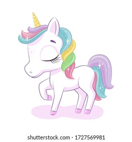 Cute magical unicorn. Vector illustration for baby shower, greeting card, party invitation, fashion clothes t-shirt print