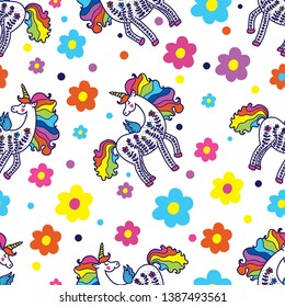 Cute magical unicorns. Magic seamless pattern.  Can be used in textile industry, paper, background, scrapbooking.