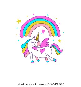 Cute magical unicorns. Vector illustration. For the decoration of children's parties, greeting cards, textiles.