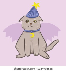 A cute magician cat with a hat, vector illustrarion of a cute cat