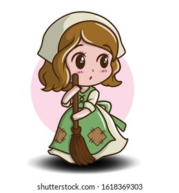 Cute Maid cartoon Character. Job cartoon concept.