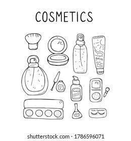 Cute make up and skin care icons. Products and accessoires for beauty. Simple womans signs set. Visage elements. Hand drawn vector graphic