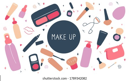 Cute make up and skin care icons. Products and accessoires for beauty. Simple womans signs set. Visage elements. Hand drawn flat vector graphic