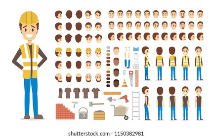 Cute male builder character in uniform set for animation with various views, hairstyles, face emotions, poses and equipment. Isolated vector illustration