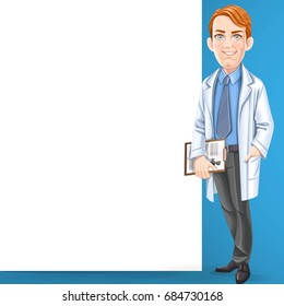 Cute male doctor in a shirt and tie and medical coat stand near big white banner on the blue background
