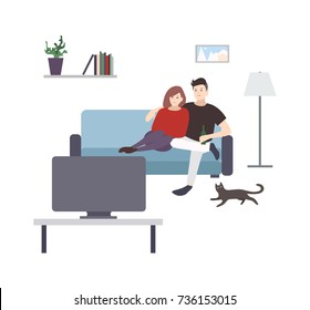 Cute male and female cartoon characters sitting on cozy couch and watching TV or television set. Young couple having fun at home. Pair of man and woman spending time together. Vector illustration.