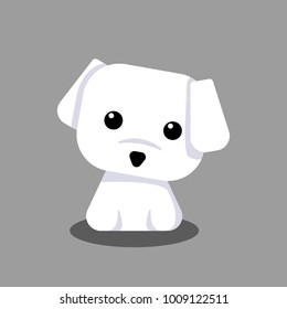 Cute Maltese White Puppy Cartoon Vector, for design, banner, logo