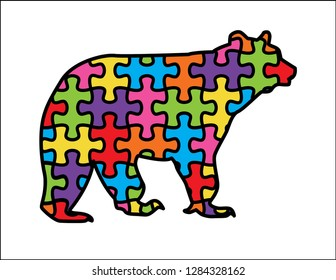 Cute Mama Bear with autism puzzle design and fun rainbow colors. Brown bear species.
