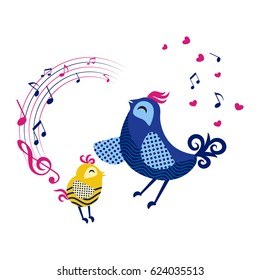 Cute Mama bird and baby bird sing. Flat design