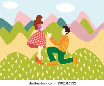Cute man character confesses love to a woman standing on his knee against the background of beautiful summer nature and mountains - vector flat cartoon illustration
