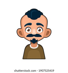 Cute Man Character with Mustache. Cartoon Style Userpic Icon. Vector
