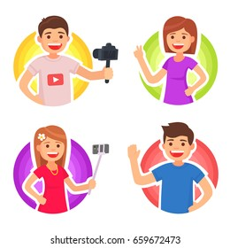Cute man and girl video bloggers. Vector illustration in cartoon style