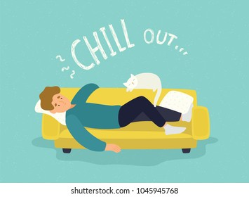 Cute man lying relaxed on yellow couch and Chill Out inscription. Cheerful guy resting on sofa with his cat. Repose, relaxation and recreation at home. Flat cartoon colorful vector illustration.