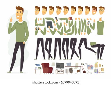 Cute man - vector cartoon people character constructor isolated on white background. Young person wearing casual clothes in different poses, emotions. Set of accessories, workplace, home furniture