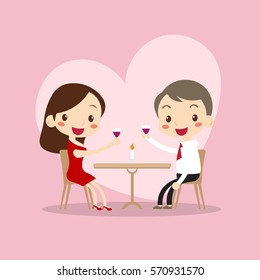 cute man and woman dinner in valentine's day