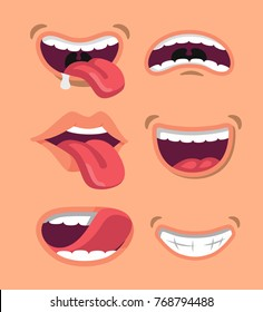 Cute man and woman mouth set. Flat vector style