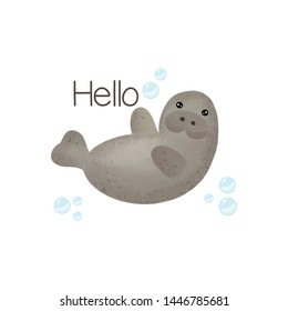 Cute manatee say Hello. Cartoon cute animals vector illustration.
