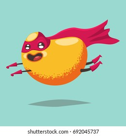 Cute Mango cartoon character of an exotic fruit in a superhero costume, mask and cloak. Vector concept illustration in a flat style for a healthy eating and lifestyle.