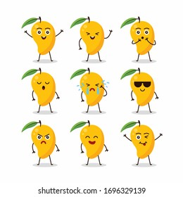 Cute mango fruit character set Illustration Design Template Vector