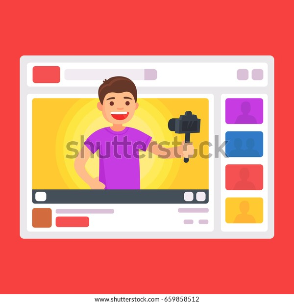 Cute manvideo bloggers. Blogger in interface web. Vector illustration in cartoon style