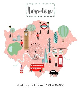 Cute map of London in United Kingdom