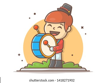 Cute Marching Band Drummer Music Vector Illustration. Marching band Drummer Boy. Flat Cartoon Style Suitable for Web Landing Page,  Banner, Flyer, Sticker, Wallpaper, Card, Background