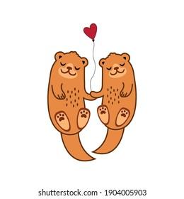 Cute Marine animal couple lovely vector art