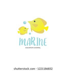 Cute marine aquatic ecosystem logo vector, eps 10