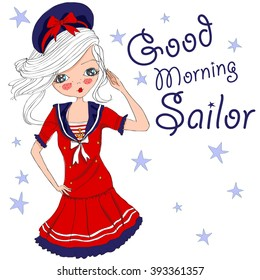 cute marine girl,good morning sailor