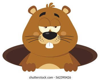 Cute Marmot Cartoon Mascot Character Emerging From A Hole. Vector Illustration Flat Design Isolated On White Background