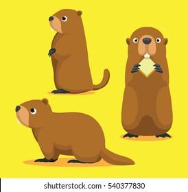 Cute Marmot Cartoon Vector Illustration