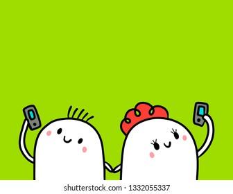 Cute marshmallow couple looking at smartphones hand drawn illustration cartoon minimalism on green font