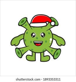 cute mascot corona virus character on christmas day