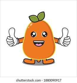 cute mascot illustration of papaya fruit vector eps 10