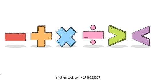 Cute Match Character Doodle: minus, plus, multiplication, division, bigger and less than