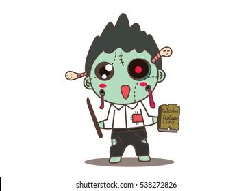cute math  teacher zombie cartoon hand draw vector .illustraion