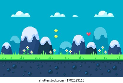 Cute meadow area with mountains and flowers. Pixel art game location. Seamless vector background.