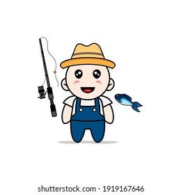 Cute mechanic character holding a fishing rod. Mascot design concept