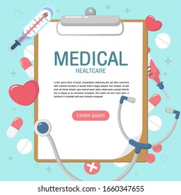 Cute medical elements background in flat style. presentation, document cover and layout template design. illustration design concept of healthcare and medicine. - vector