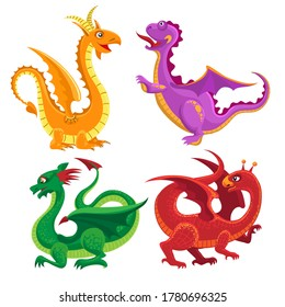 Cute medieval dragons. Cartoon magic monster from fairytale, colored magical characters of fantasy tale, vector illustration creatures of fantasia animals isolated on white background