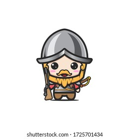 cute medieval warrior. British Royal Guard cartoon characters in traditional uniforms