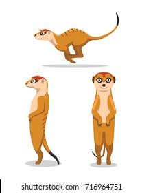 Cute Meerkat Poses Cartoon Vector Illustration
