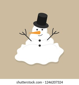Cute melted snowman vector illustration icon. Winter, holiday, christmas funny snowman. Isolated on beige background.