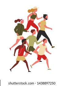 Cute men and women dressed in sportswear jogging or running. Male and female athletes taking part in sports competition or marathon race. Healthy activity. Flat cartoon colorful vector illustration.