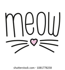 cute meow cat quotes illustration vector