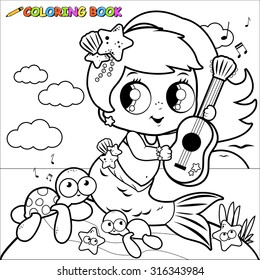 Cute mermaid by the sea playing music with her guitar. Vector black and white coloring page.