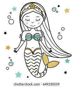 Cute Mermaid character in hand drawn style. vector illustration. Fairy undine princess. Sticker, paperdoll, coloring book, kids vector illustration,