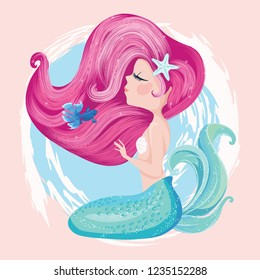 cute mermaid with fish and starfish vector illustration for  children books, fashion artworks, t-shirt prints, greeting cards.