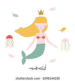 Cute mermaid with fishes and octopuses. Vector hand drawn illustration.