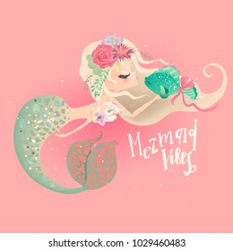 Cute mermaid in floral, flowers wreath, bouquet, pearl beads kissing a fish and lettering